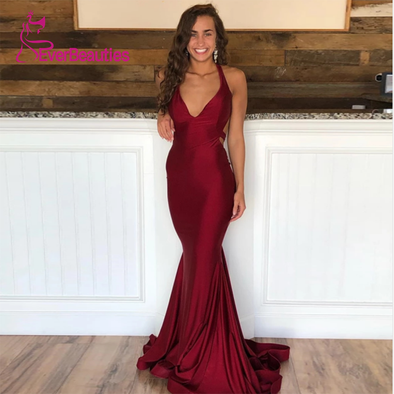 Mermaid Red Elegant Long   Evening     Dress   V Neck 2019 Satin Prom Party Halter Simple Vestidos De Festa Robe De Soiree Abendkleider
