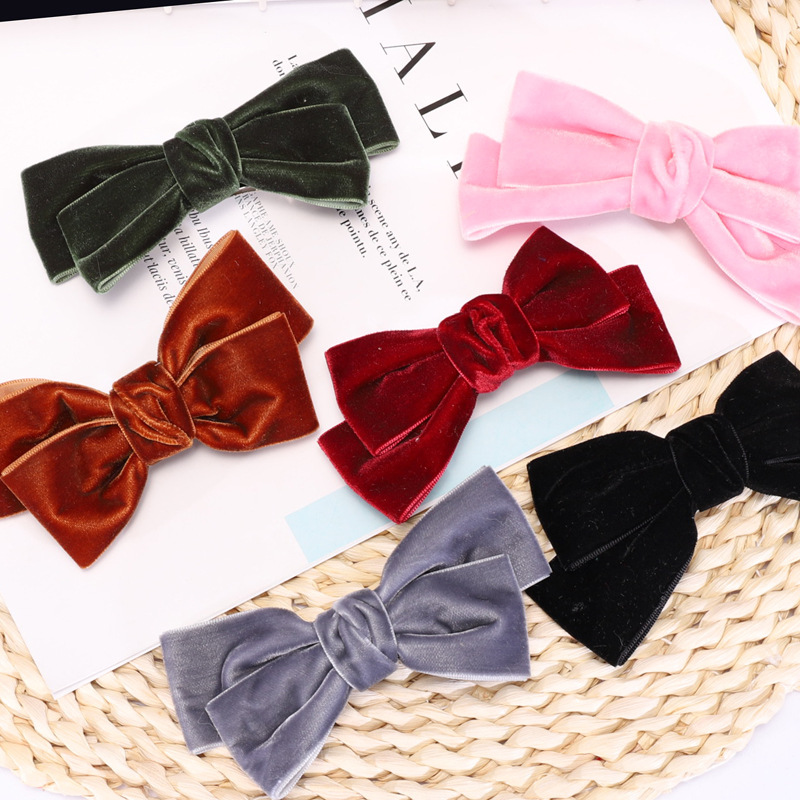 CN 2pcs/lot  11cm Velvet Bows Hair Clips Girls Fashion Hair Accessories For Women Hair Barrettes Bowknot Hairgrips