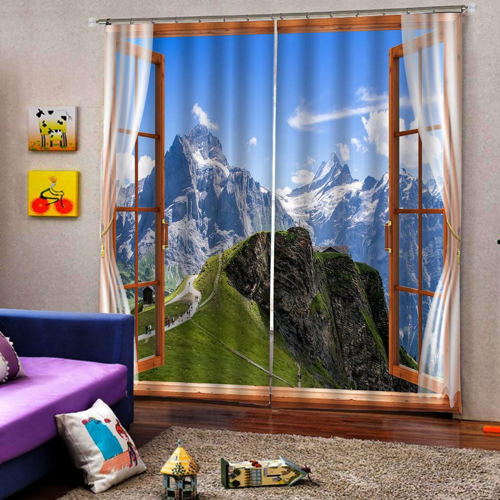 3D занавески фото размер под заказ Лес Снег пейзаж занавески Спальня Гостиная Офис Cortinas пробой Ванная комната Душ - 4