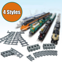 New City Trains Track Rail Straight & Curved Rails Fit Legoings Technic City Train Track Building Blocks Brick Model Kid Toy