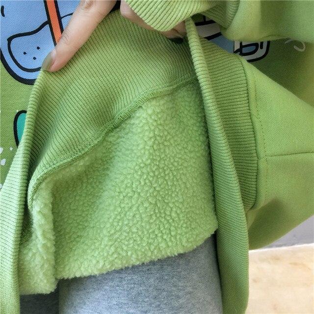 Harajuku Cartoons Printed Graphics Oversized Hoodies Women Winter Autumn Fleece Hooded Sweatshirt Cute Pockets Pullover Tops 6