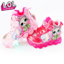LOL Surprise Dolls Sport Shoes Girls Casual Non-slip Sneakers LED Flashing Lights Cute Children's Leisure Gifts for