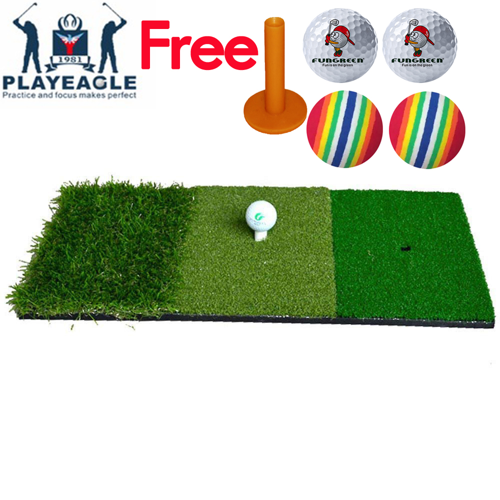 Free Shipping FUNGREEN 12''x24''Golf Hitting Mat Indoor Outdoor Tri-Turf Golf Mat With Tees Hole Practice Mat Golf Training Aids