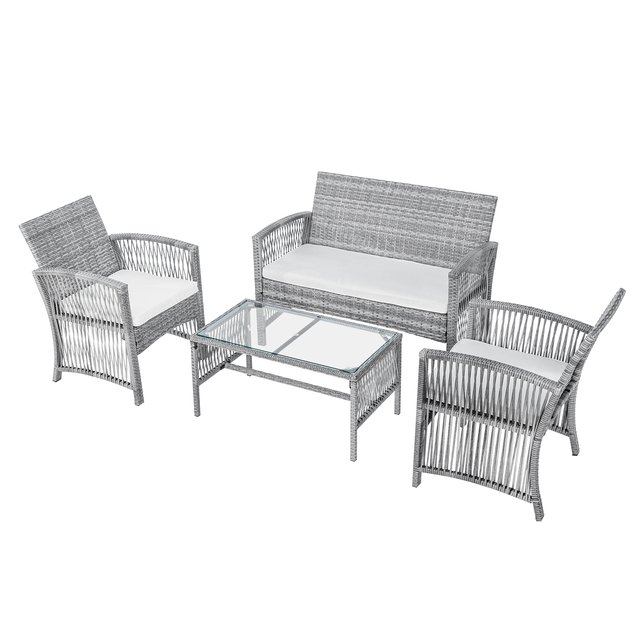 8 Pieces Outdoor Furniture Rattan Chair & Table Patio Set Outdoor Wicker Sofa for Garden Backyard Porch and Poolside 6