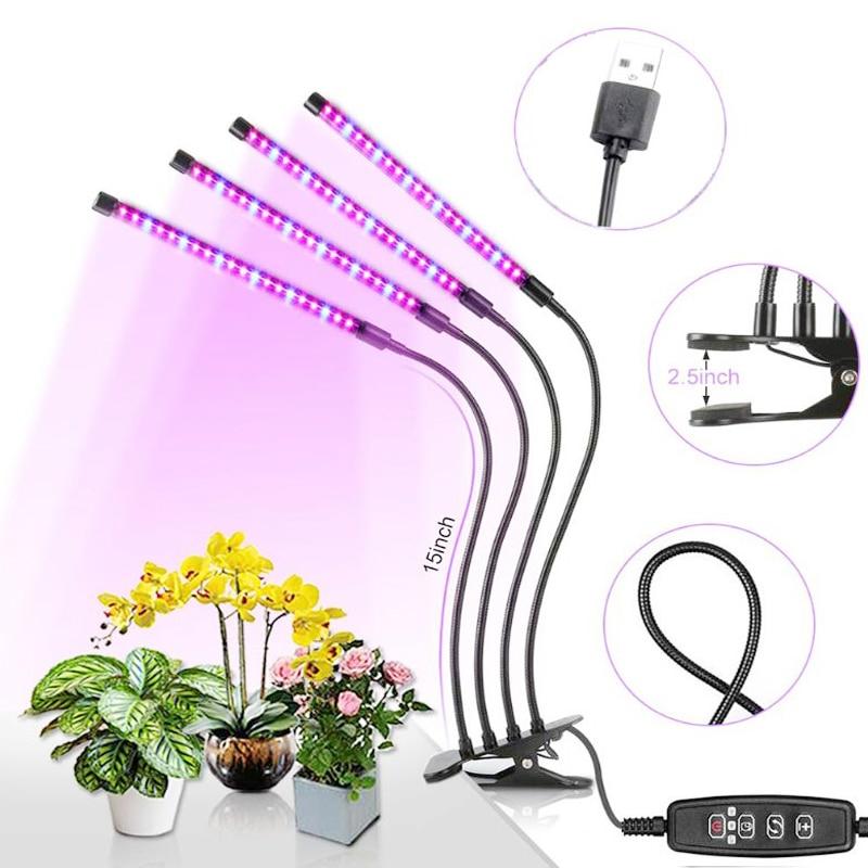 Full Spectrum LED Grow Light DC5V 9W 18W 27W 36W Flexible Clip USB Power Supply Desktop Plant Growth Light For Flower Plant Lamp