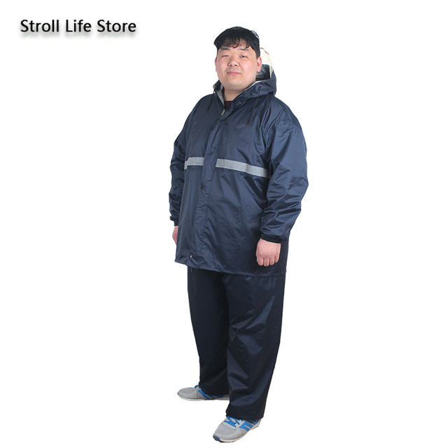 Large Plus Size Raincoat Men Hiking Fertilizer To Increase Fat Man Rain Coat Suit Adult Men and Women Thickened Double Layer 2
