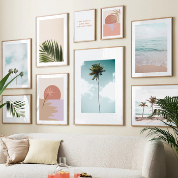 Beach Palms Tree Leaves Plant Landscape Quotes Wall Art Canvas Painting Nordic Posters And Prints Wall Pictures For Living Room coconut palm tree beach wall art canvas painting nordic landscape posters and prints wall pictures for living room unframed