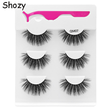 Shozy 3 pairs 25mm faux mink eyelashes with applicator handmade natural false extension for makeup-QM