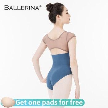 Ballerina Ballet Leotard Women Professional Training Yoga Mesh Short Sleeve Gymnastics Leotard Dance Costume Adulto 3616