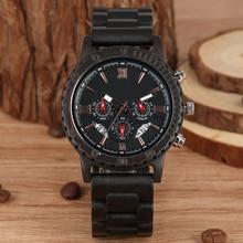 лучшая цена Classic Ebony Strap Wooden Watch in Quartz Watches Large Dial with Calendar Clock Black Case Wristwatch relogios masculinos