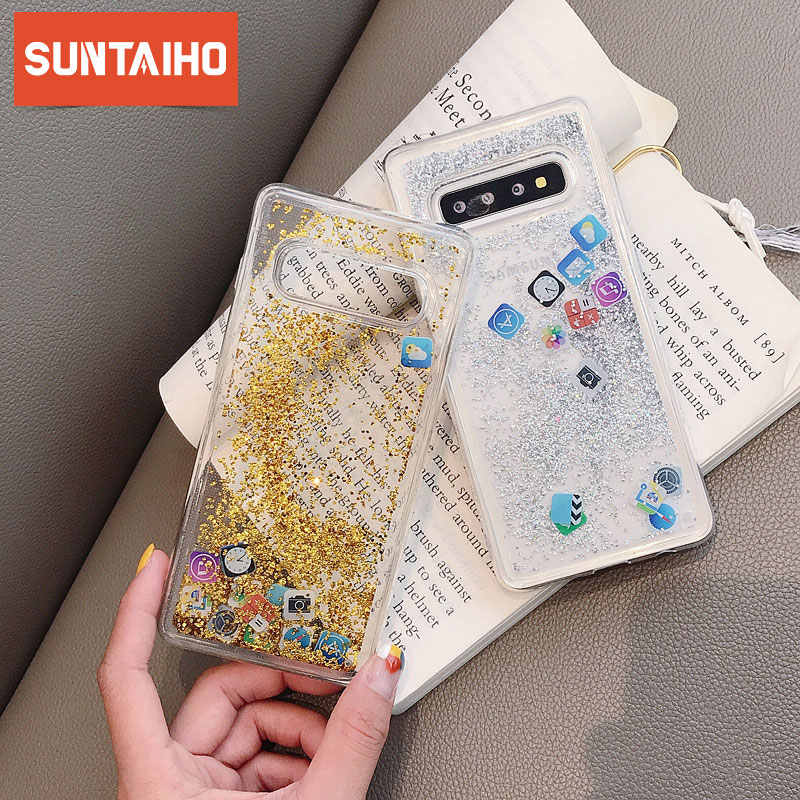 Funny Apps Icon Liquid Glitter Phone Case For Samsung Galaxy S10 Lite S10 S8 S9Plus Note 9 8 Dynamic Quicksand Liquid Phone Case