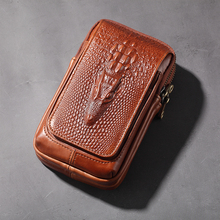Bolso con correa Vertical de cuero genuino para hombre, bolsa del teléfono móvil con doble cremallera, Piel de vaca natural Vintage, riñonera de diseñador con bolsillo
