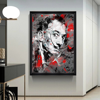 Portrait Art Salvador Dali Oil Painting Canvas Painting Posters and Print Wall Art Picture for Living Room Home Decor (No Frame) 2