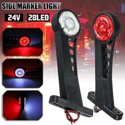 SUHU 2Pcs 24V Waterproof 28 LED Side Marker Light Red White Lamp Trailer Truck Universal LED Stalk Side Marker Light Accessories
