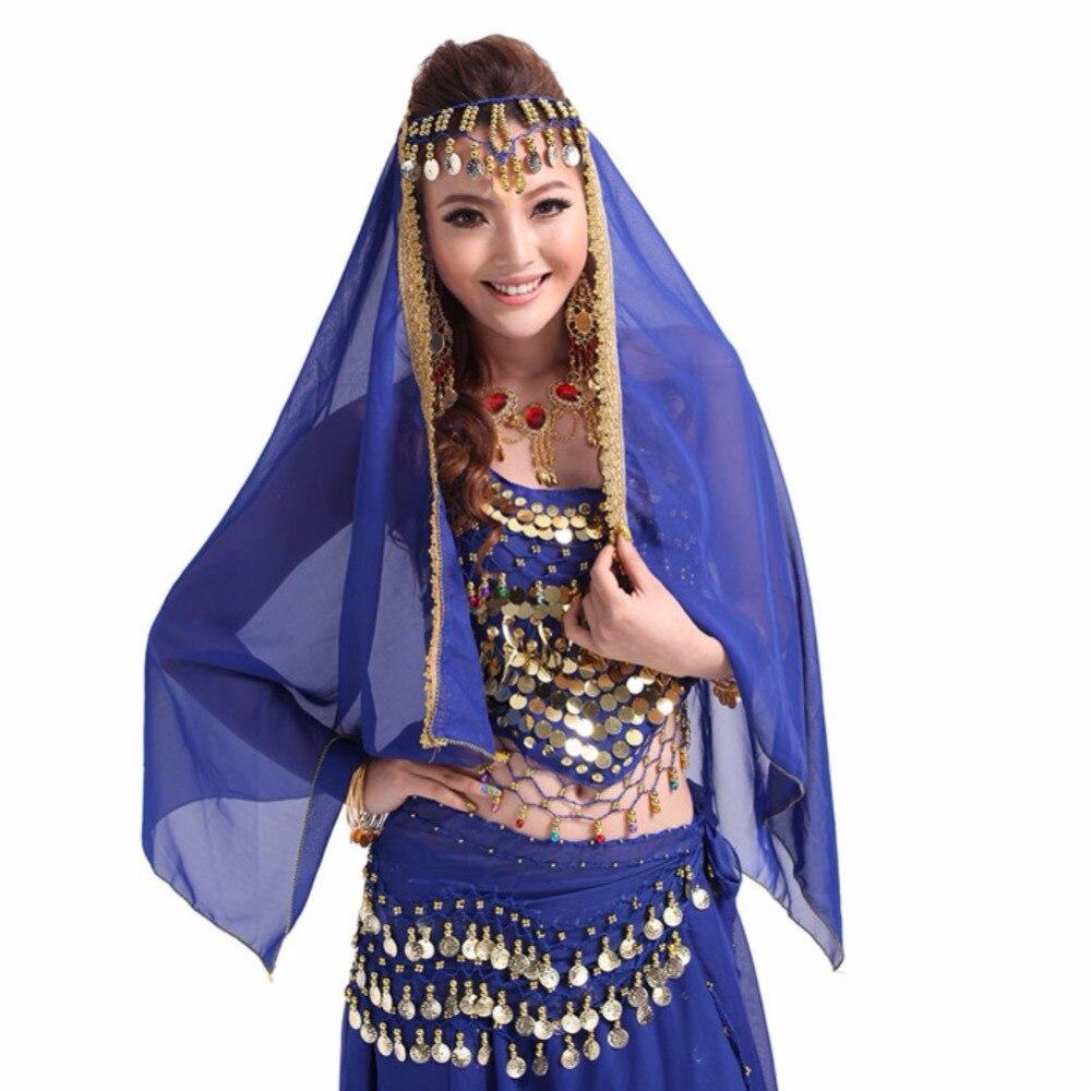 Sexy Women Girls Belly Dance Headpiece Costumes Chiffon Golden Coins Decorate Belly Dancing Dress