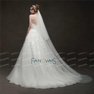 Image 2 - Einfache Weiß/Elfenbein Hochzeit Schleier 2 Schichten 3 meter Weichen Tüll Braut Schleier mit Kamm Hochzeit Zubehör Hohe Qualität velos Novia
