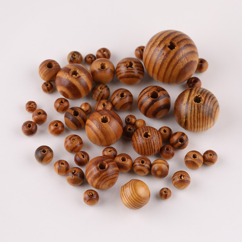 Natural grain wooden beads Pine Natural Round Wood Spacer Wooden Loose Beads Handmade for Bracelet Necklace DIY Jewelry Making