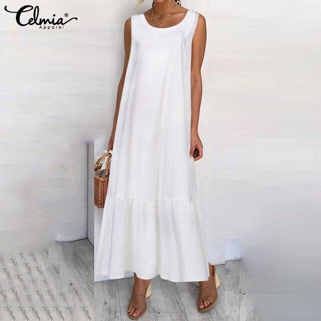 Plus Size Sundress 2019 Celmia Women Summer Sleeveless Maxi Long Dress Female Casual Loose Solid Maxi Dress Holiday Vestido Robe 1