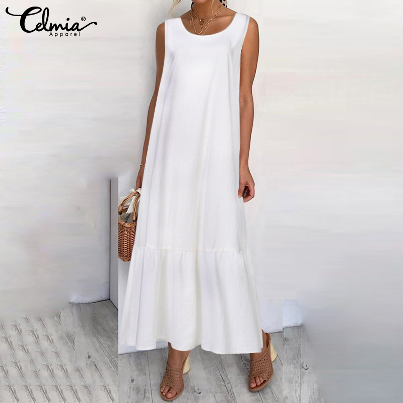 Plus Size Sundress 2019 Celmia Women Summer Sleeveless Maxi Long Dress Female Casual Loose Solid Maxi Dress Holiday Vestido Robe