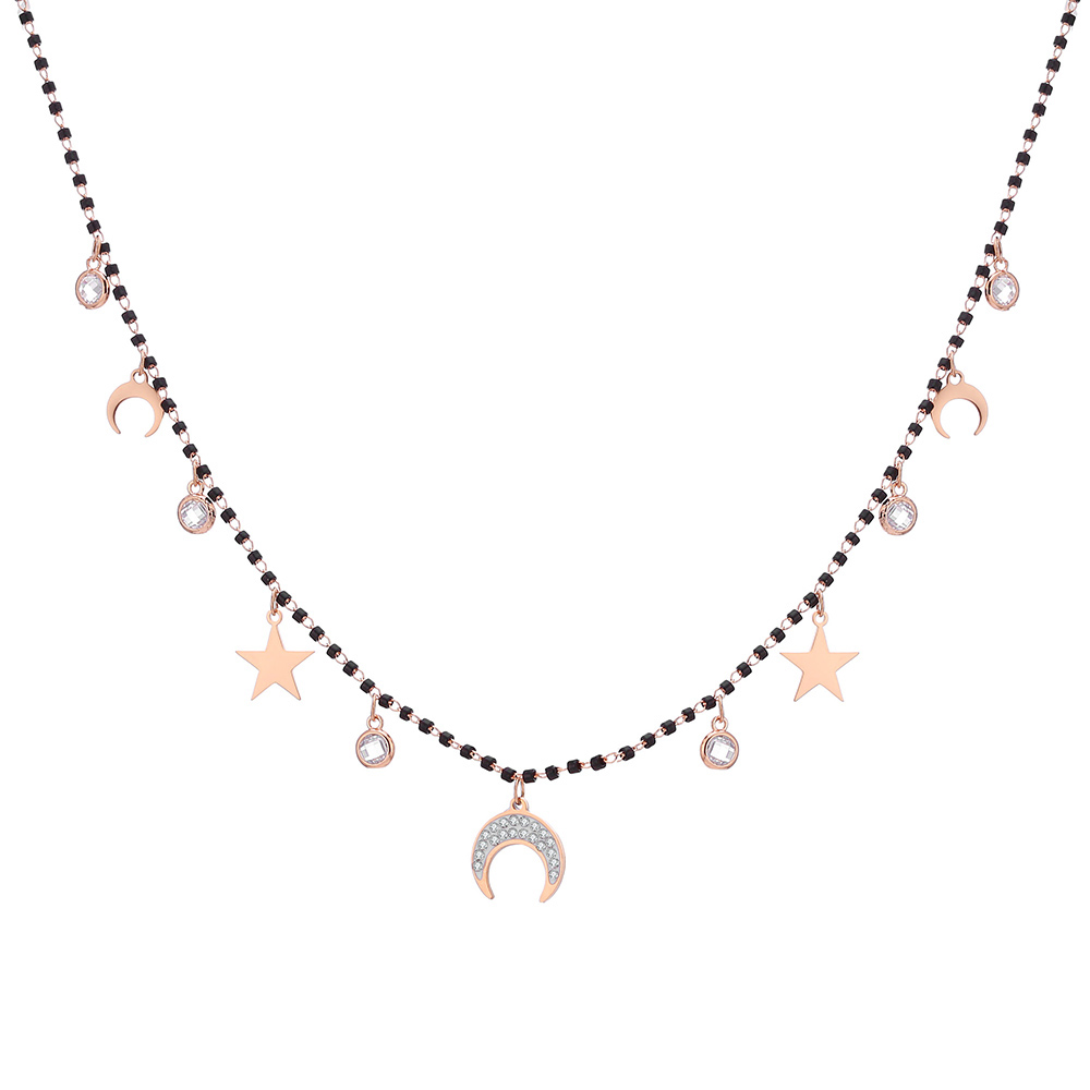Trendy Black Beads Choker Necklace For Women Stainless Steel Star Moon Round Crystal Pendant Necklace Women's Jewelry Gift 2020