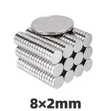 AGMA 50pcs 8mmx2mm Neodymium Magnets Sheet N35 Super Strong Round Powerful Mini Small Rare Earth Magnet For Crafts Disc 8 * 2mm zion 10 20 50pcs dia 5x2mm small magnets n35 rare earth super mini round neodymium magnet disc 5 2mm permanent powerful magnetic