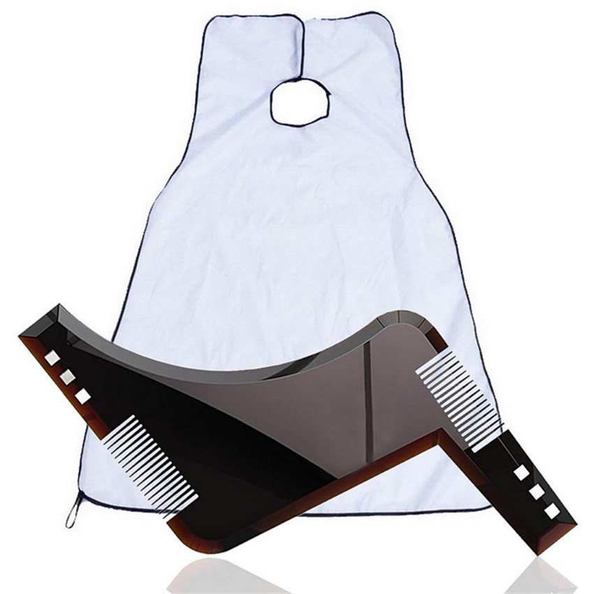 1Set Beard And Mustache Catcher Apron Cape Bib For Shave With Suction Cups Attach To Mirror Hairdressing Beard Comb For Men