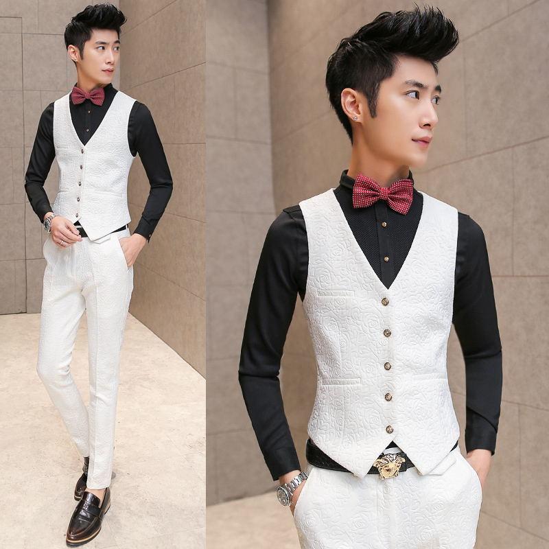 White Wedding Tuxedos For Brand Pressing Rose Print Elegant Vintage Suits Men Slim Fit Prom Groom Suit Jacket+Vest+Pant