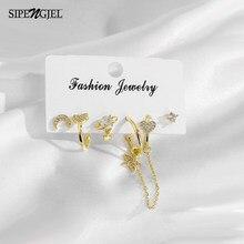 Moda micro cz cristal bonito lua e estrela conjunto hoop brincos 6 pçs conjuntos de brincos para mulher jóias acessórios 2021 tendência