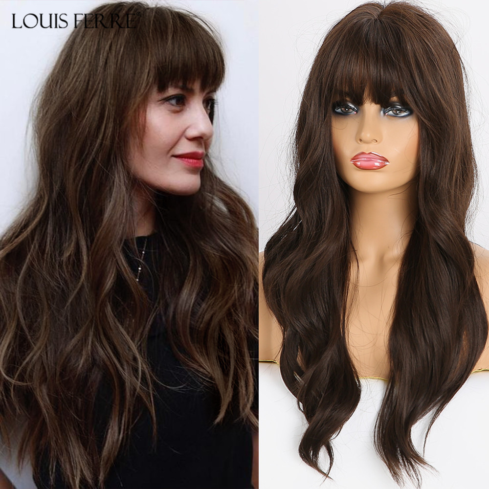 LOUIS FERRE Long Wavy Black Brown Wigs for Women Afro Synthetic Hair Wigs with Bangs High Temperature Fiber Lady Cosplay Wigs