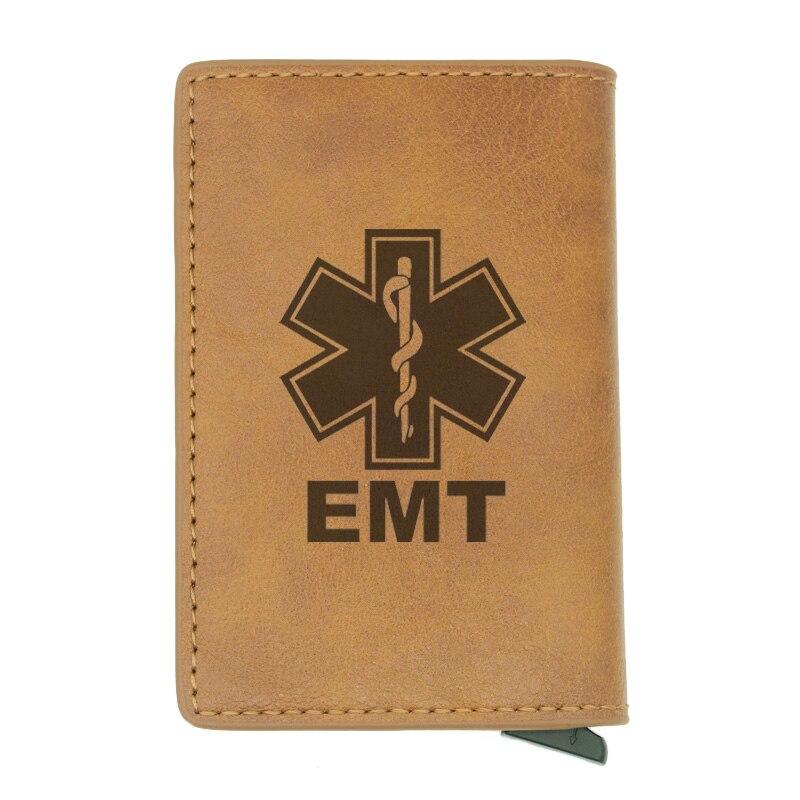Vintage Classic EMT Emergency Medical Technician Rfid Card Holder Men Wallets Brown Short Purse Leather Slim Wallets Mini Wallet