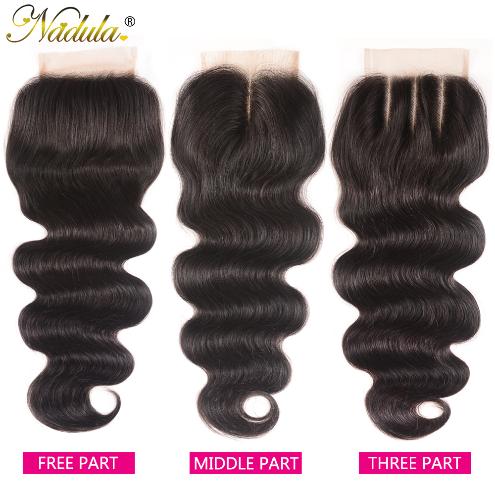 Nadula Hair 4*4 Middle /Free Part  Body Wave Hair Closure 100%   Hair Swiss Lace Closure 10-20inch 1