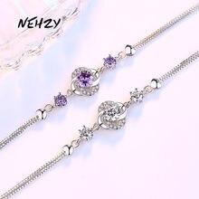NEHZY 925 sterling silver nowa moda damska biżuteria fioletowy kryształ cyrkon cztery liść koniczyny kwiat bransoletka długość 16 + 3.5CM