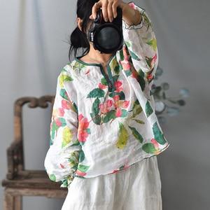 Johnature Women Lantern Sleeve Ramie T-Shirts Vintage High Quality 2020 New Summer O-Neck Loose Print Floral Women T-Shirts