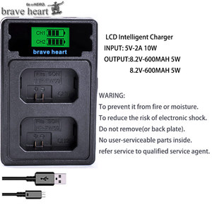 Image 2 - 4Pcs 2000mAh NP FW50 NP FW50 Batterie + LED USB Dual Ladegerät für Sony Alpha a6500 a6300 a7 7R a7R a7R II a7II NEX 3 NEX 3N NEX 5