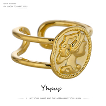 Yhpup Statement Portrait Opening Ring Simple Gold Color Metal Texture Charm Ring for Women Summer Party Gift Jewelry 2020 Bijoux