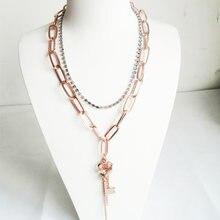 Двухслойное ожерелье с подвеской в виде розы брелок модные ювелирные