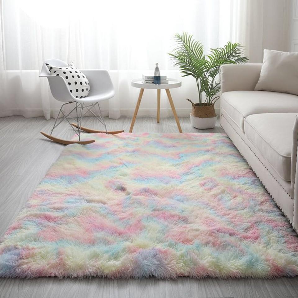Nordic Colorful Fluffy Carpet Big For Living Room Soft Mat In The Bedroom Cute Children's Carpet Girl Room Rug Bedroom Decor