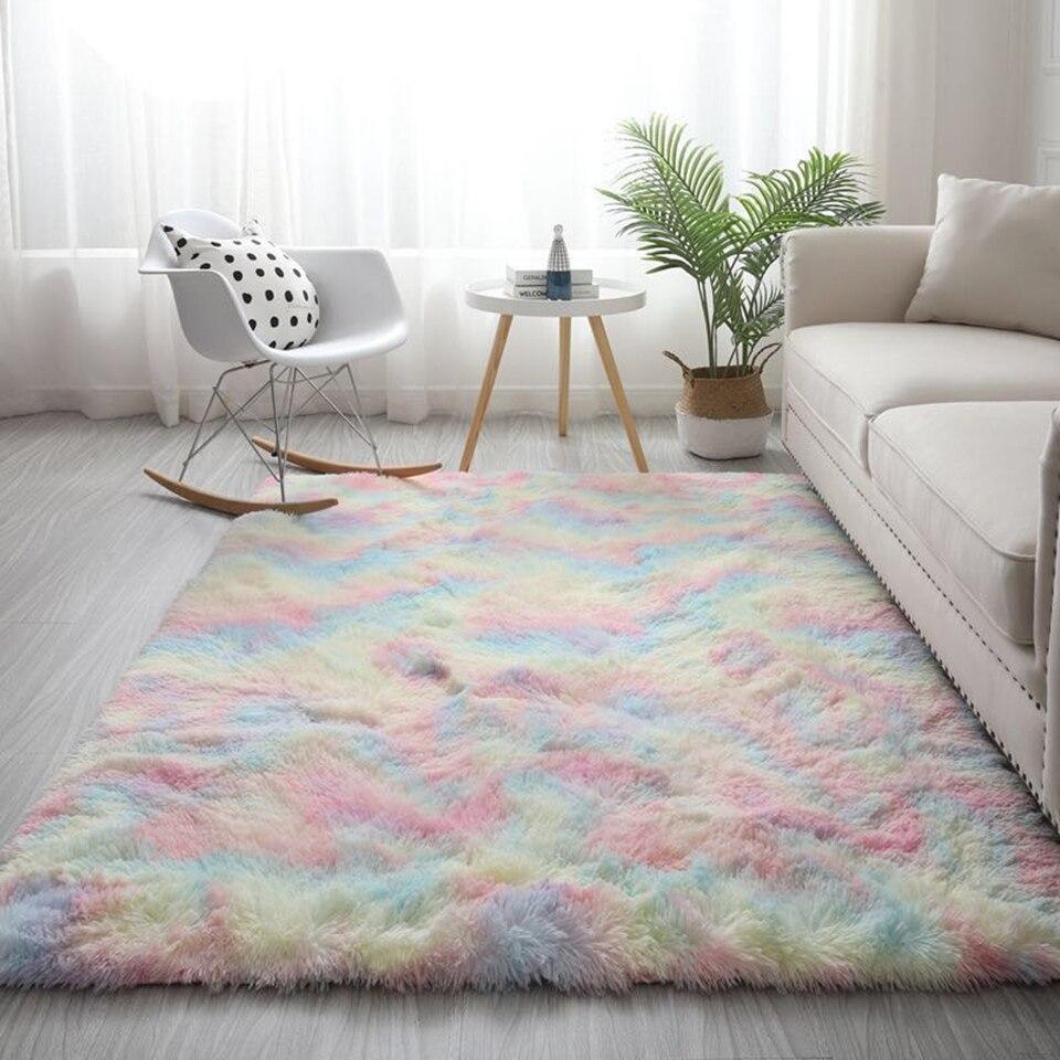 Nordic Colorful Fluffy Grande Tappeto Per Soggiorno Morbido Zerbino In Camera Da Letto dei bambini Svegli Tappeto Camera Della Ragazza Tappetini arredamento camera da letto