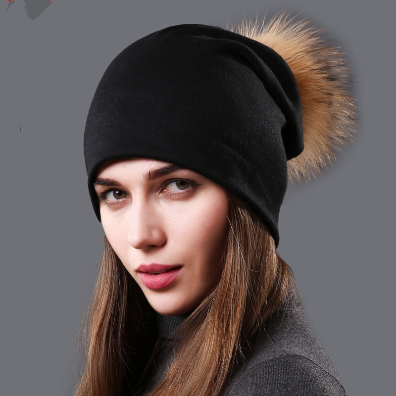 NUZADA Winter Hat Women Real Fur Pom Pom Hat Cotton Knitted Hats Double Cloth Warm Beanies Hat Lady Fashion Ski Caps