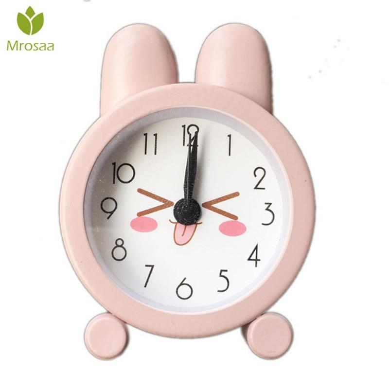 Newest Cartoon Cute Digital Desktop Alarm Clock Mute Rabbit Children Room Table Clocks Bedroom Background Home Decor Accessories(China)