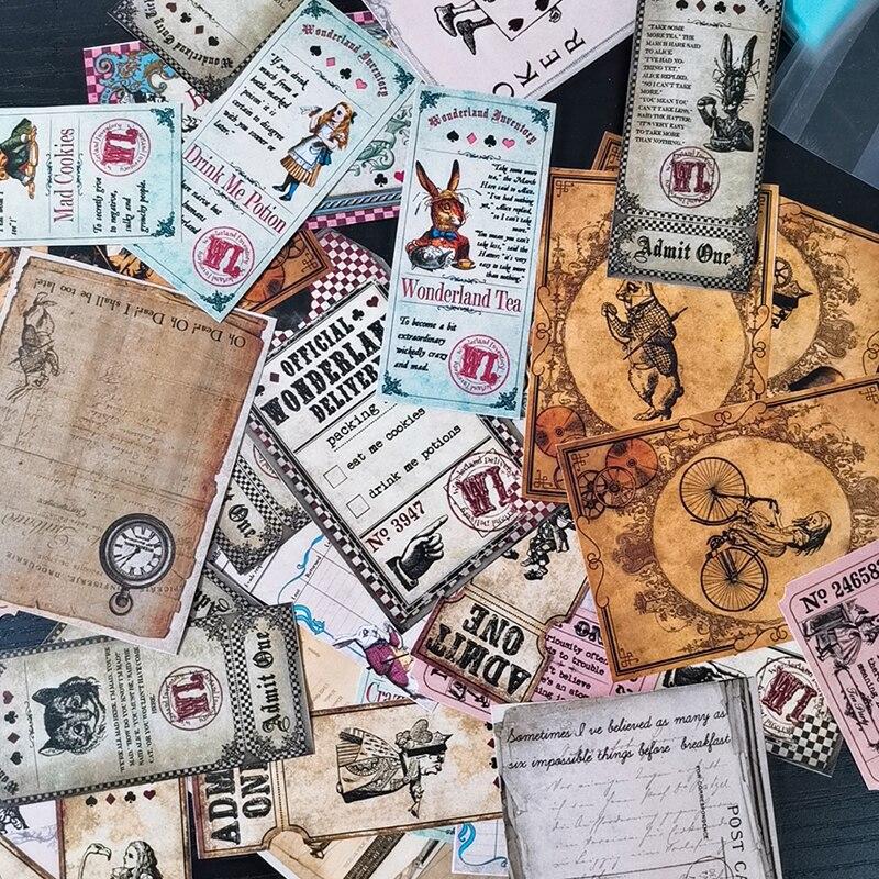 40pcs Retro Alice Animal Tag Material Sticker Vintage Kraft Paper Magical Rabbit Cute Sticker DIY Scrapbooking Label Diary Album