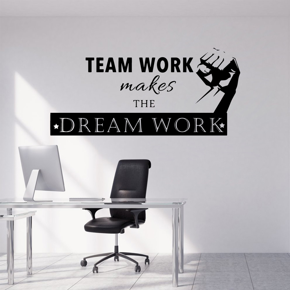 Quote Team Work Makes Dream Work Vinyl Wall Stickers For Company Office Classroom Wallpaper Removable Wall Mural Poster image