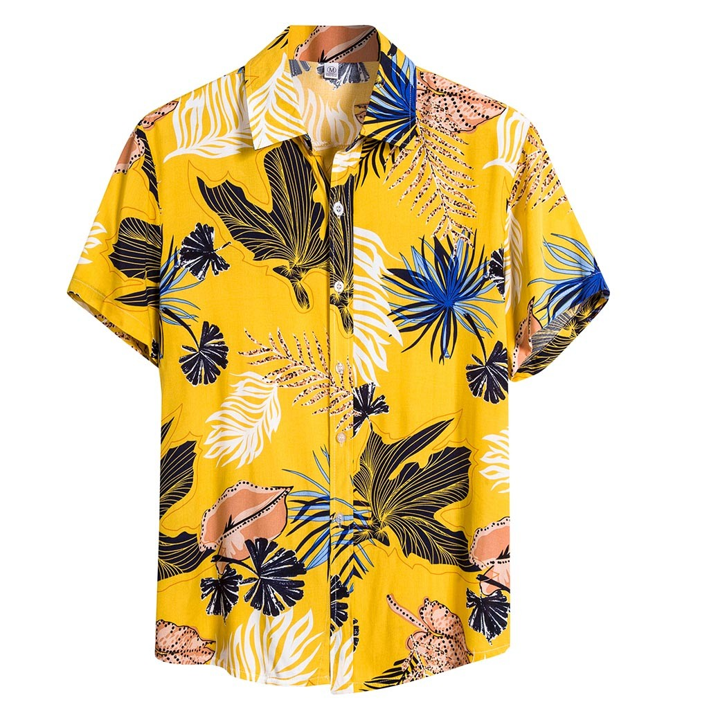 Men Ethnic Short Sleeve Printed Hawaiian Shirt Blouse Plus Size M-3XL Shirts Camisa Social Masculina Chemise Homme 2020 Summer