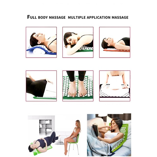 Non-Slip Acupressure Cushion Massage Mat Body Pain Spike Fitness Pilates Exercise Pillow Yoga Mats Gift Bag Applicator
