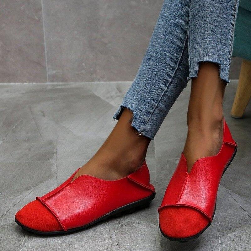 Женские кожаные туфли Women2021, Мокасины, лоферы для мам, мягкая обувь на плоской подошве, повседневная женская обувь для вождения, удобные бабу...