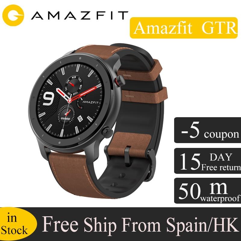 Version mondiale Huami Amazfit GTR 47mm GPS montre intelligente hommes 5ATM étanche Smartwatch 24 jours batterie AMOLED écran 12 Mode Sport