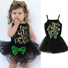 My 1st St.Patrick's Day Newborn Baby Girls Dress Princess Party Tutu Dress Toddler Sequin Chiffon Romper Dress Outfits emmababy cute princess dress newborn toddler baby girls unicorn lace tutu fly sleeve romper jumpsuit fancy dress outfits costume