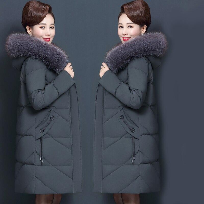 Winter Women's Jacket Middle-aged Long Cotton Thicken Hooded Fur Collar Cotton   Parkas   Women's Winter Coat Plus Size XL-7XL