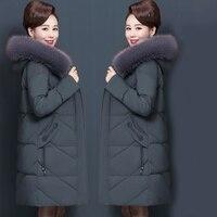 Winter Women's Jacket Middle aged Long Cotton Thicken Hooded Fur Collar Cotton Parkas Women's Winter Coat Plus Size XL 7XL