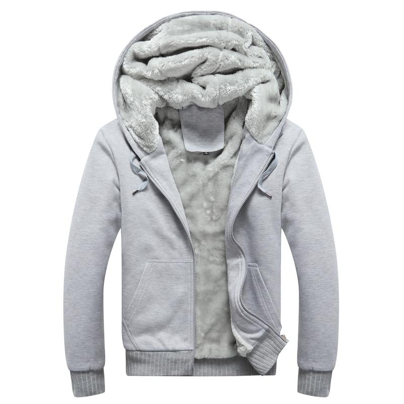 Hoodie Sweatshirt Mens 2019 Coat Fleece Male Hoodies Sweatshirts  Autumn Winter Warm Solid Hooded Drawstring Zipper Sweatshirt